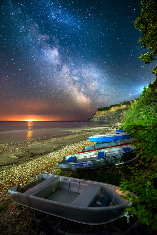 z3062 The Milky Way over Luccombe Cliff, Shanklin - Sandown, Shanklin, Luccombe and Wroxall