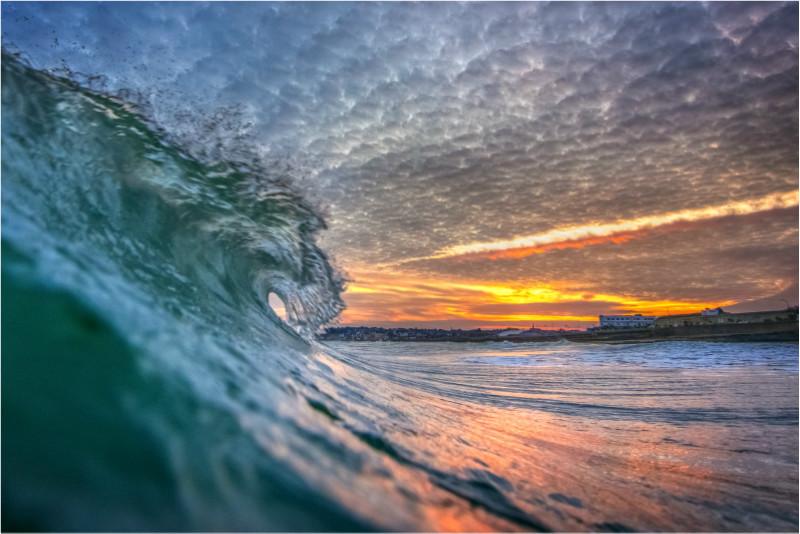 w042 Sandown Bay Sunset Surf - The Wave Gallery