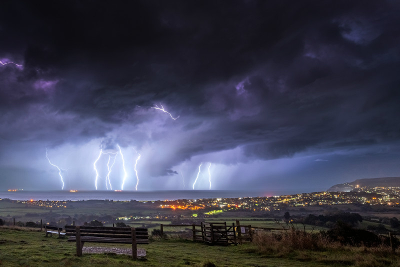 z2968 Evening Storm over Sandown Bay - The Lightning Gallery