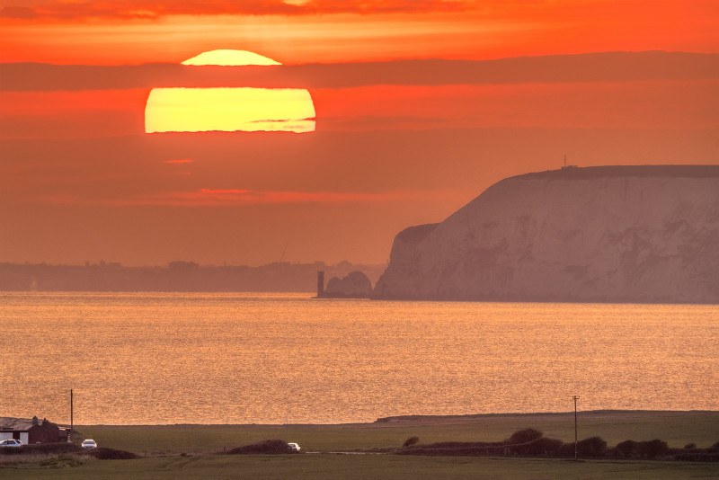 z3049 Sunset over the Needles - Blackgang to Compton inc West Wight