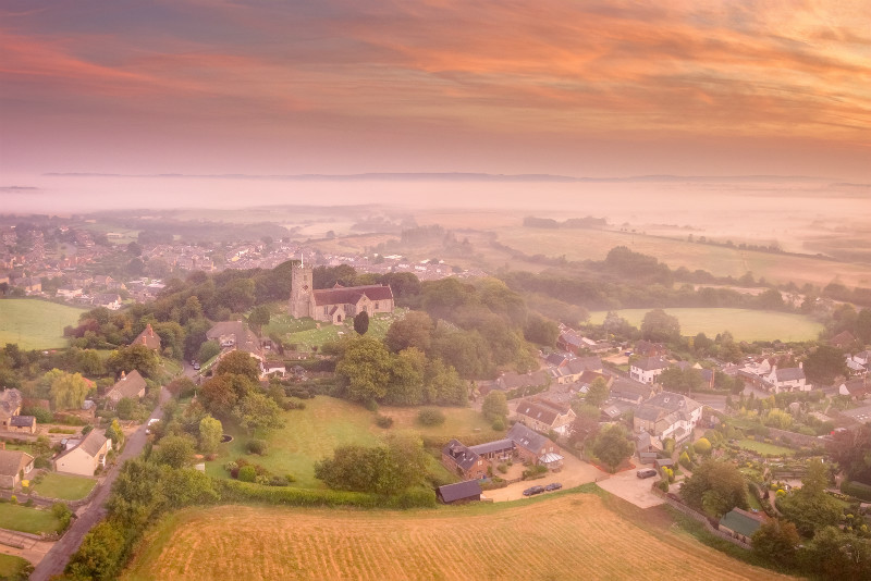 z3106 Overlooking Godshill on a Misty Morning - The Inner Island inc Newport & Godshill