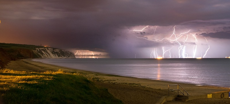z2415p Passing Storm, Sandown Bay - The Lightning Gallery
