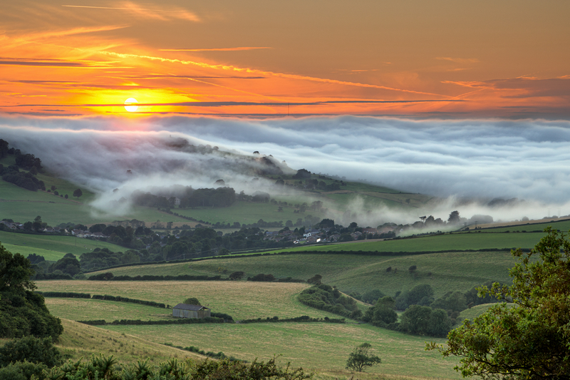 z2112 Evening Mist over Wroxall Down - Sandown, Shanklin, Luccombe and Wroxall