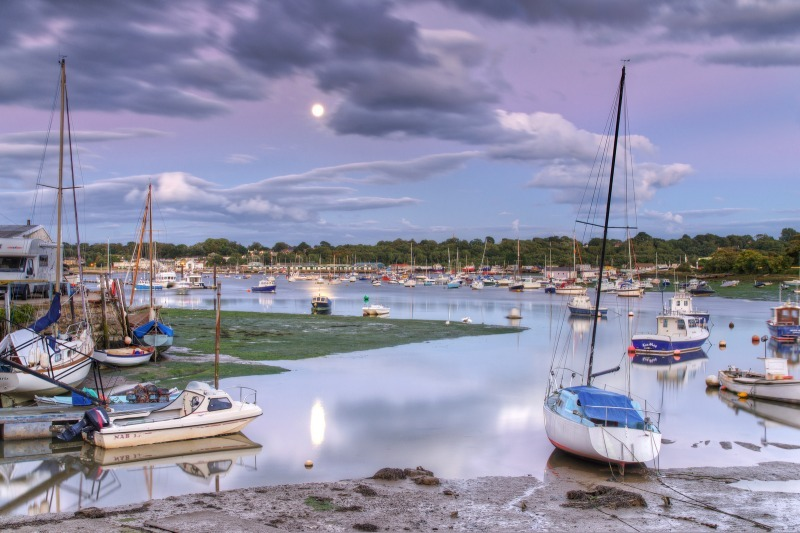 z2483 Bembridge Harbour by Moonlight - Seaview to Bembridge, Whitecliff Bay and Brading