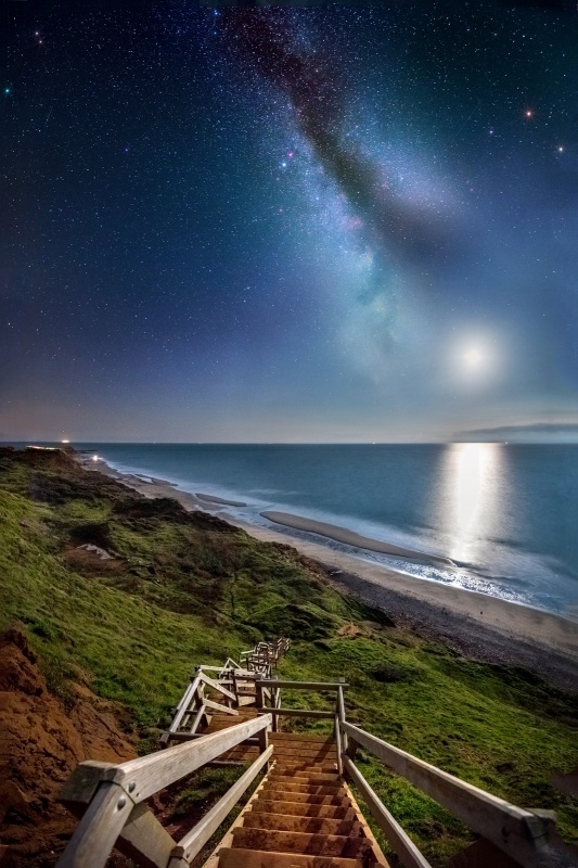 z2789 Moonset and Milky Way, Compton Bay - Blackgang to Compton inc West Wight