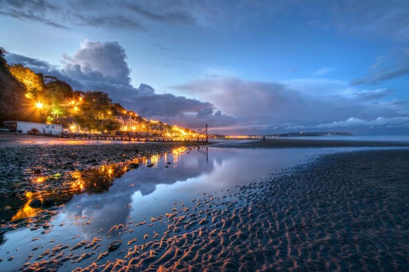 z2498 Dusk Reflections, Shanklin Beach - Sandown, Shanklin, Luccombe and Wroxall