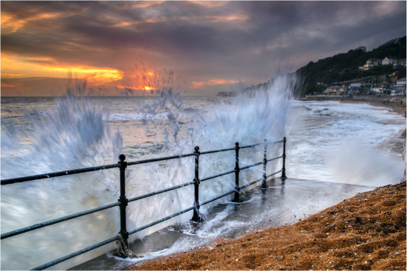 w020 Sunset Waves, Ventnor Beach - The Wave Gallery