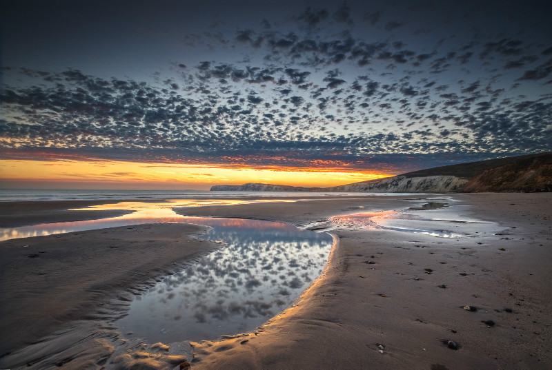 z2954 Compton Bay Dusk Reflections - Blackgang to Compton inc West Wight