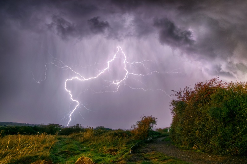 z2533 Storm over the Airport, Lake - Sandown, Shanklin, Luccombe and Wroxall