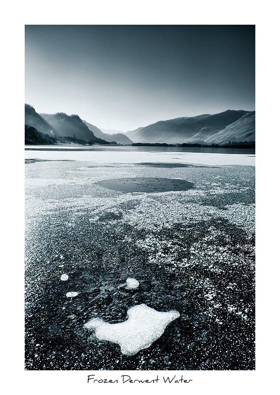 Frozen Derwent Water - Monochrome