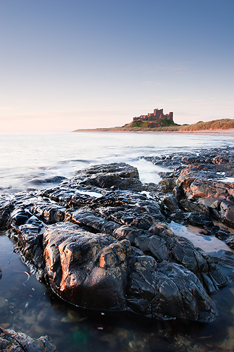 Sunrise Reflection, Bamburgh Castle - Northumberland