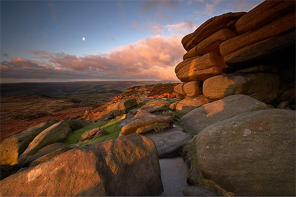 Moon on the Tor - Landscapes