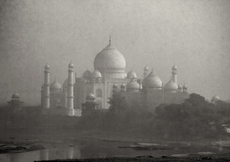 Taj Mahal through fog, Agra, India
