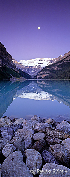Moon Over Lake Louise - Panoramic Vertical Images