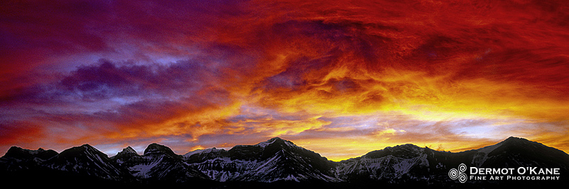 Sunset In The Crowsnest Pass - Panoramic Horizontal Images