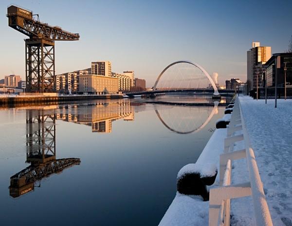 Finnieston crane and Squinty bridge in winter - Glasgow