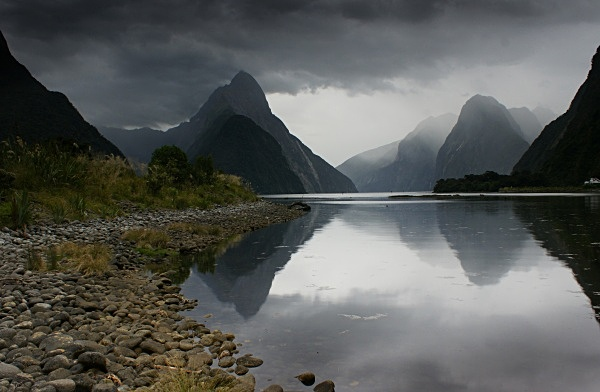 Storm approaching Milford Sound - New Zealand South Island