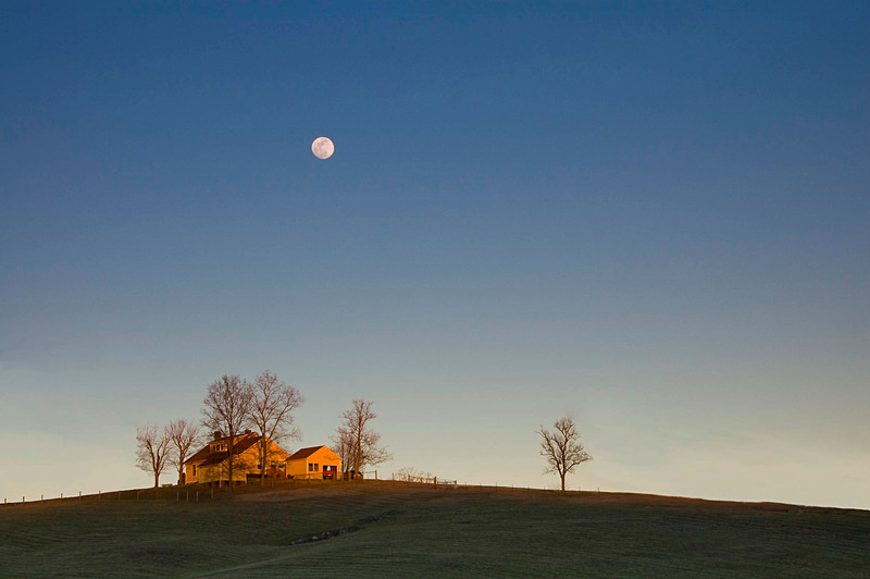 Moon Over Farmhouse - Travel in Color