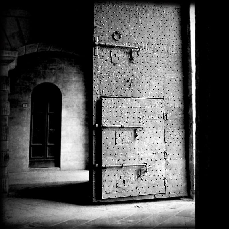 Lucca Door - Travel - Black & White