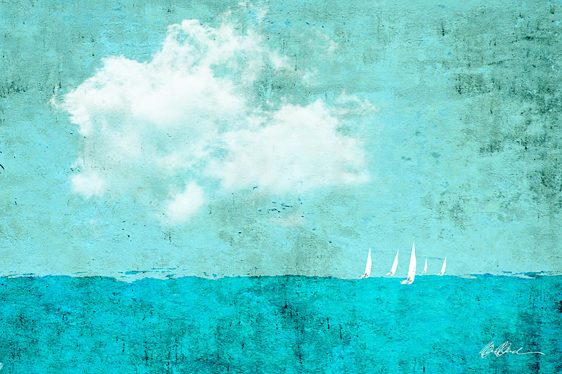 Sailboat Race in Aqua No.2 - PhotoCollage