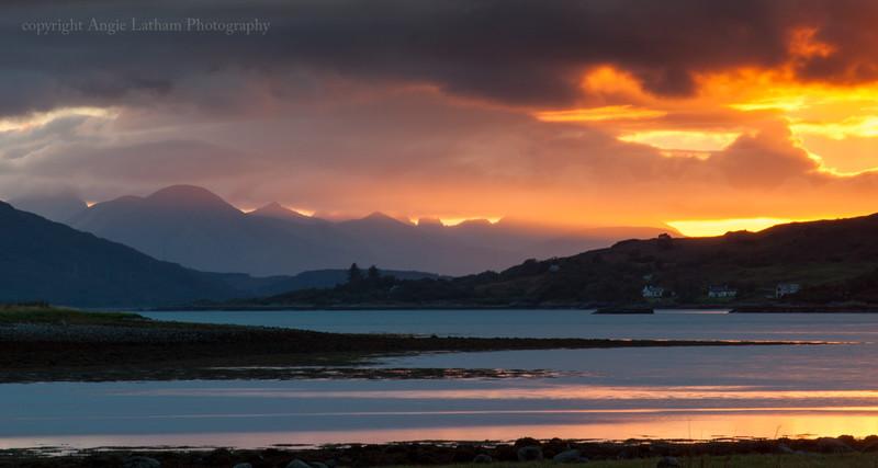 Sunset across Skye from Loch Duich - Isle of Skye