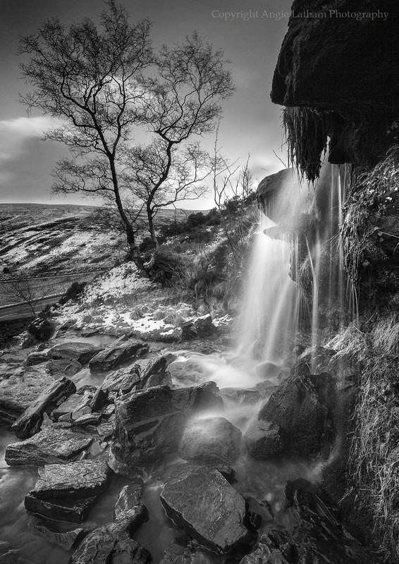 Brecon Waterfall - Black & White