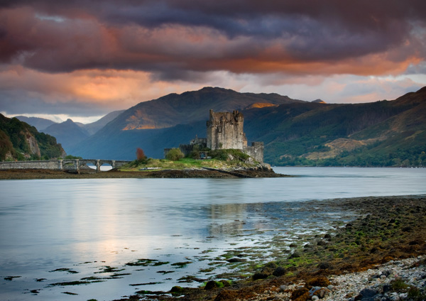 Eilean Donan red sky at night - Highlands of Scotland