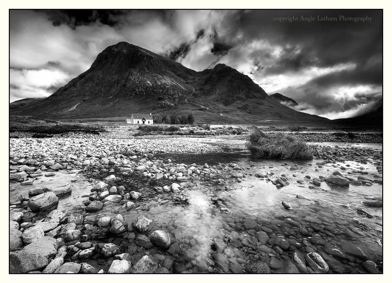 The House under Buachaille Etive Mor - Glencoe BW - Black & White