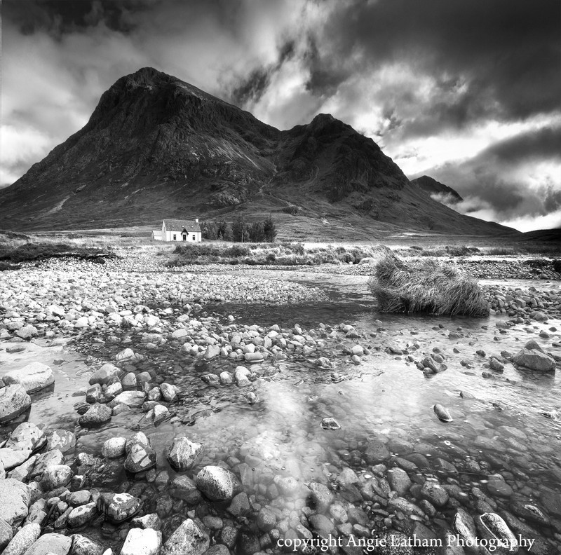 BW007 The cottage under the mountain - Scotland in Black & White