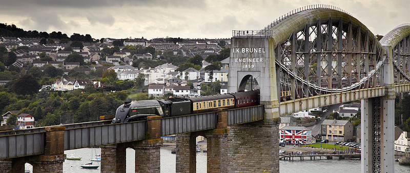 Steam Train on Brunel Bridge - Panoramic