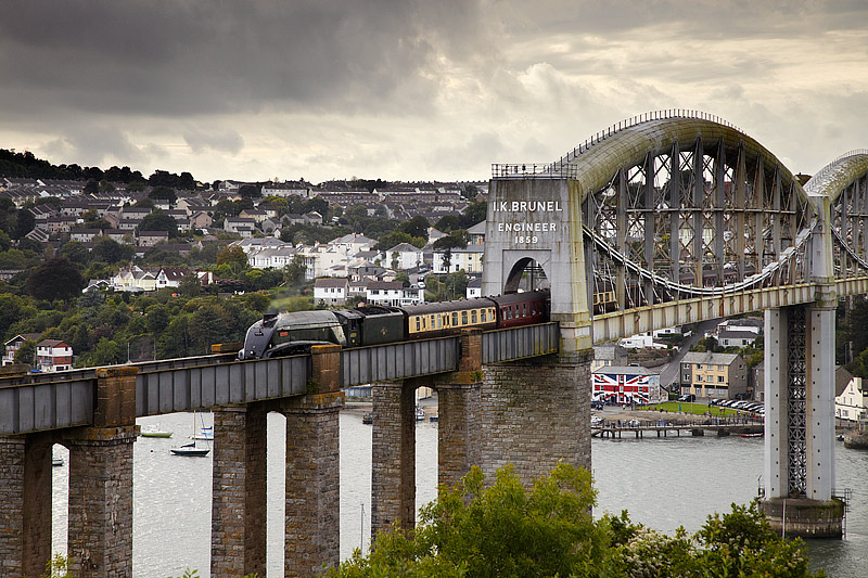 Steam Train on Brunel Bridge - Cornwall - Towns and Countryside