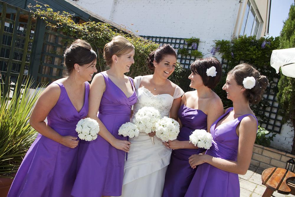 Bride and Bridemaids at Bear Hotel, Cowbridge - Wedding Photography at The Bear Hotel, Cowbridge