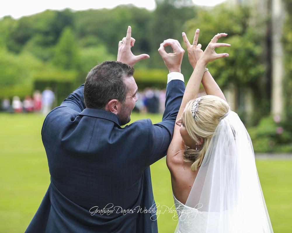 Miskin Manor Bride & Groom LOVE Photo - Wedding Photography at Miskin Manor