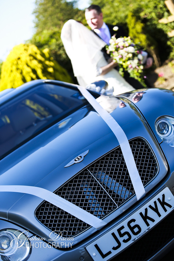Bride & Groom and Wedding Car at St. Hilary - Wedding Photography at St. Hilary