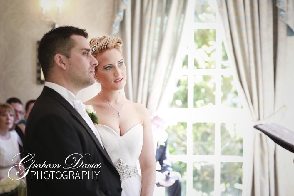 Bride & Groom at Wedding Ceremony in De Courceys, Cardiff - Wedding Photography at De Courceys, Cardiff