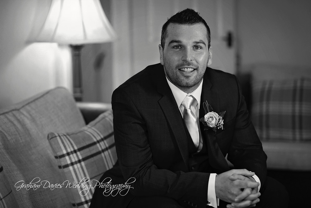 Miskin Manor groom getting ready b&w - Wedding Photography at Miskin Manor
