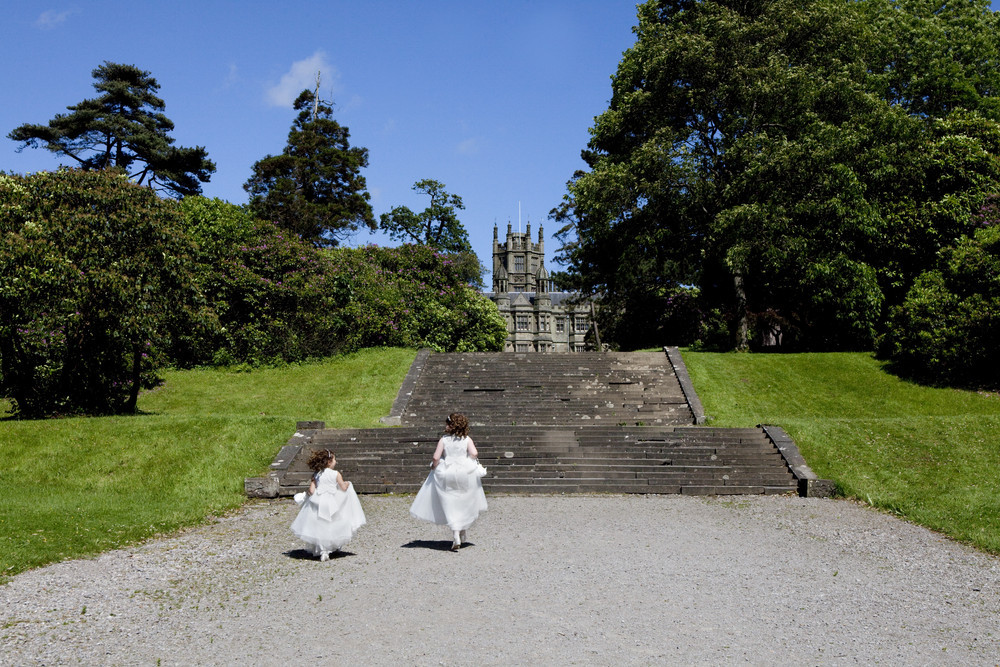Flower girls playing at Margam Orangery - Wedding Photography at Margam Orangery