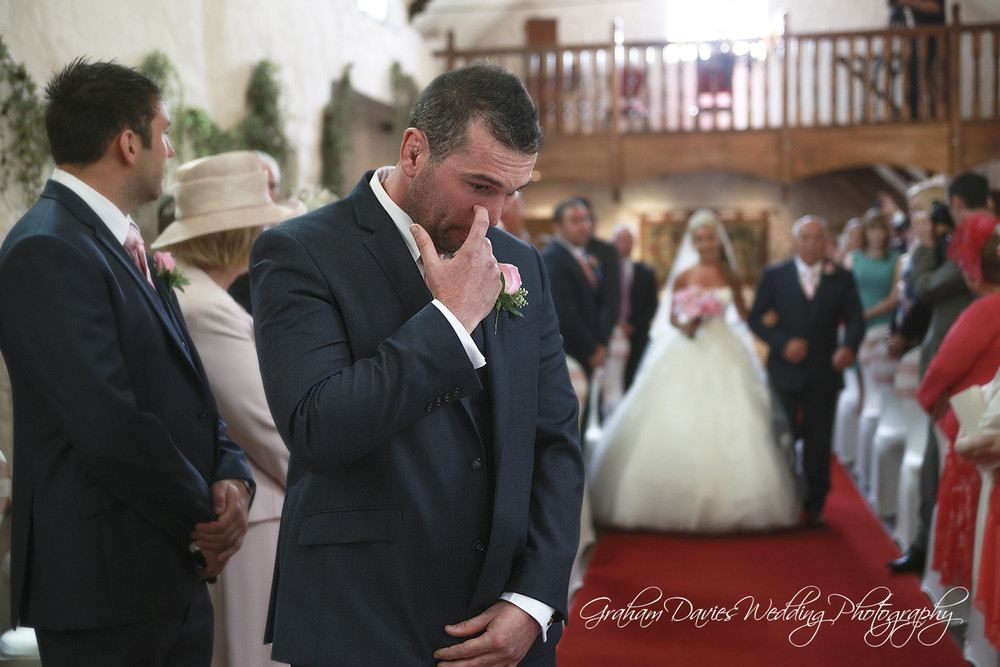 Miskin Manor Groom holding back a tear - Wedding Photography at Miskin Manor