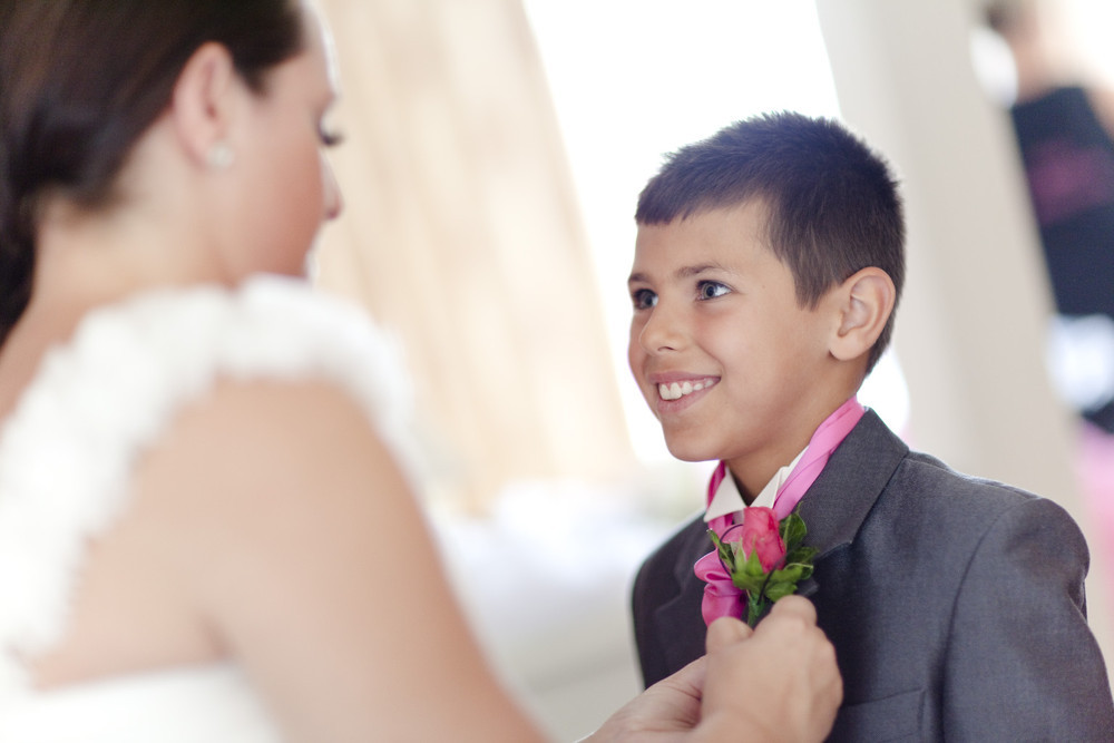 Bride and her son at Bryn Meadows - Wedding Photography at Bryn Meadows Golf & Country Club