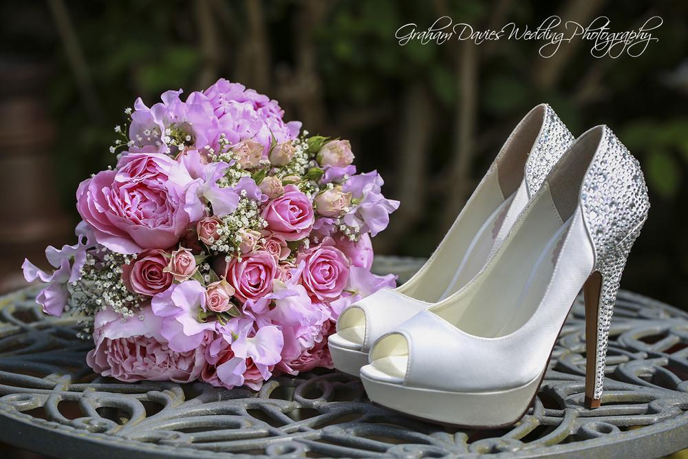 Miskin Manor Flowers & Shoes shot - Wedding Photography at Miskin Manor