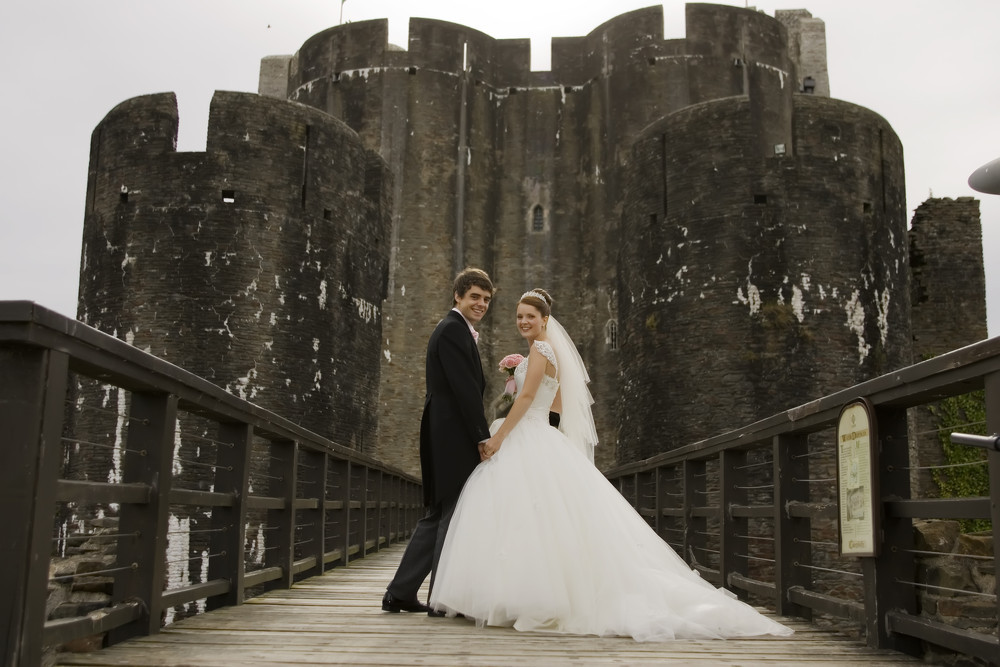 Bride & Groom at Caerphilly Castle - Wedding Photography at Caerphilly Castle