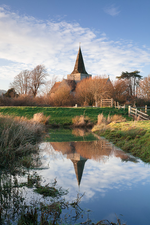Winter reflections, Alfriston - Land