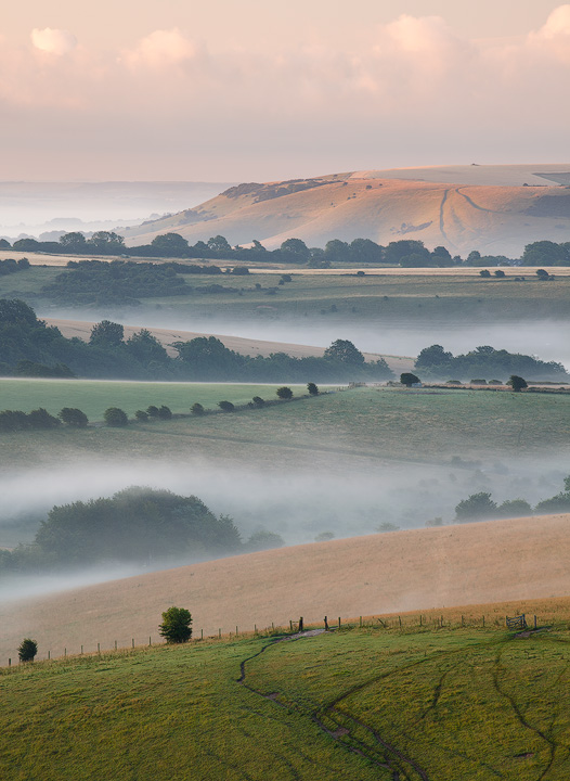 Mist in the valley, South Downs - Land