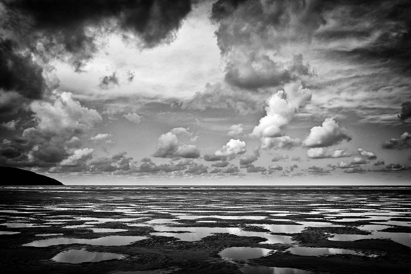 Poppit Sands Cloud Reflection - Black and White