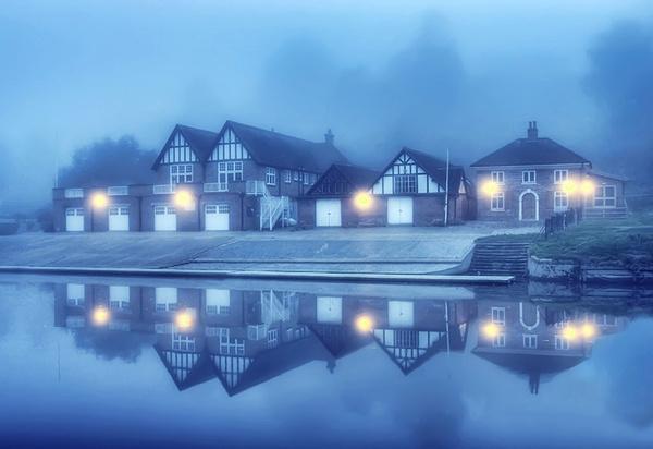 Shrewsbury School boathouse - Shrewsbury in soft light