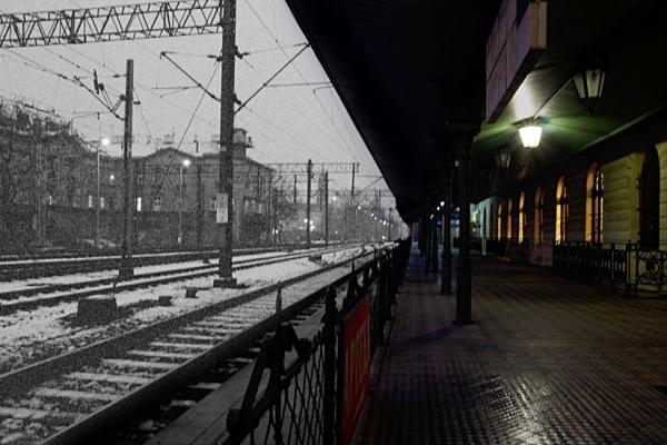 Snow on the tracks - Krakow in cool light