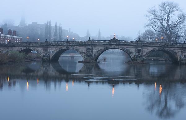 English bridge 1 - Shrewsbury in soft light