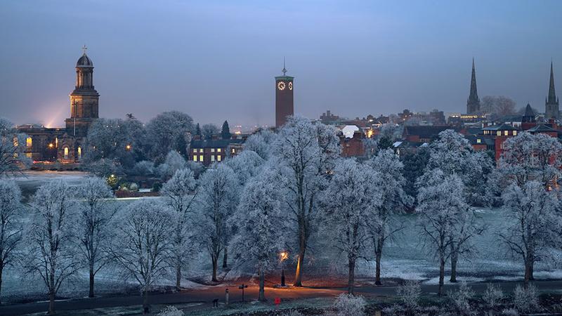 Quarry Hoar frost - Shrewsbury in soft light