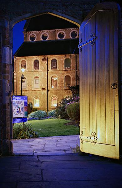 School gardens doorway - Shrewsbury in soft light