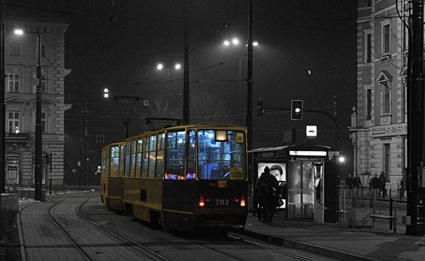 Late night ttram - Krakow in cool light